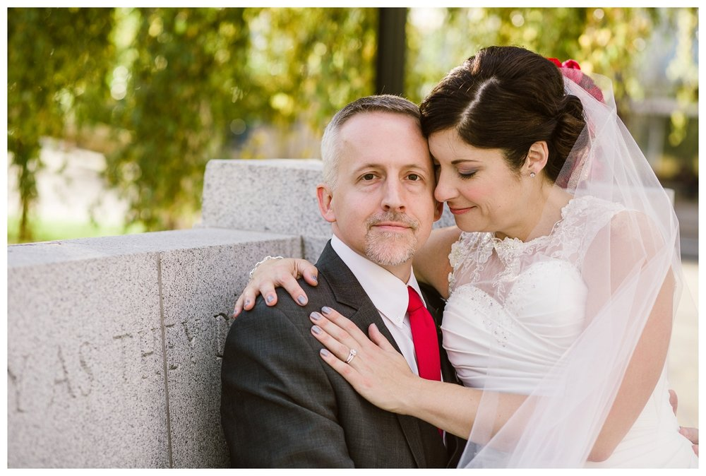 Bride and Groom posing for fall portraits