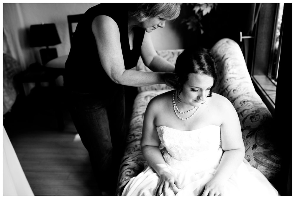 Black and white bride getting ready