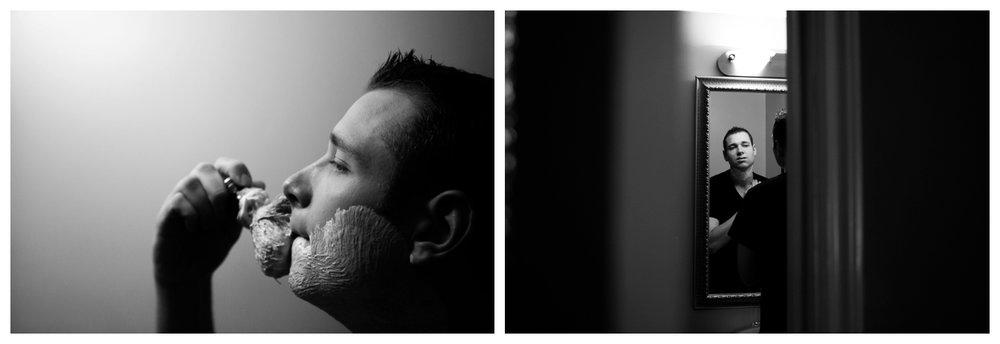 groom shaving on wedding day