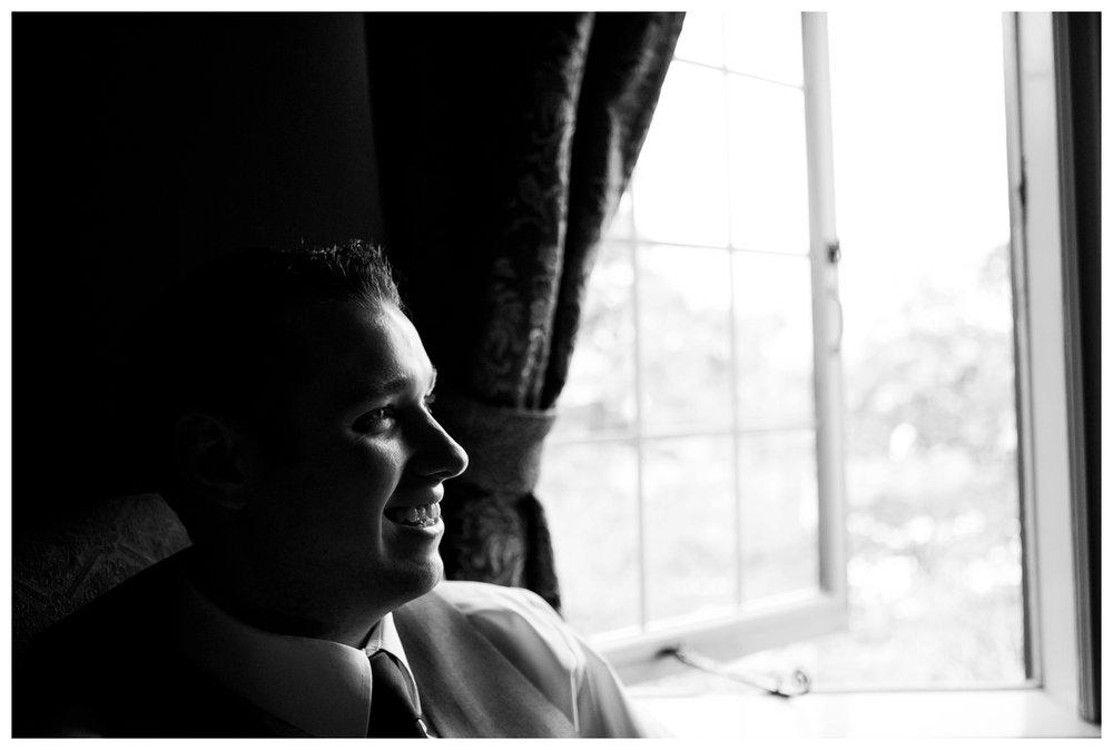 Black and white portrait groom