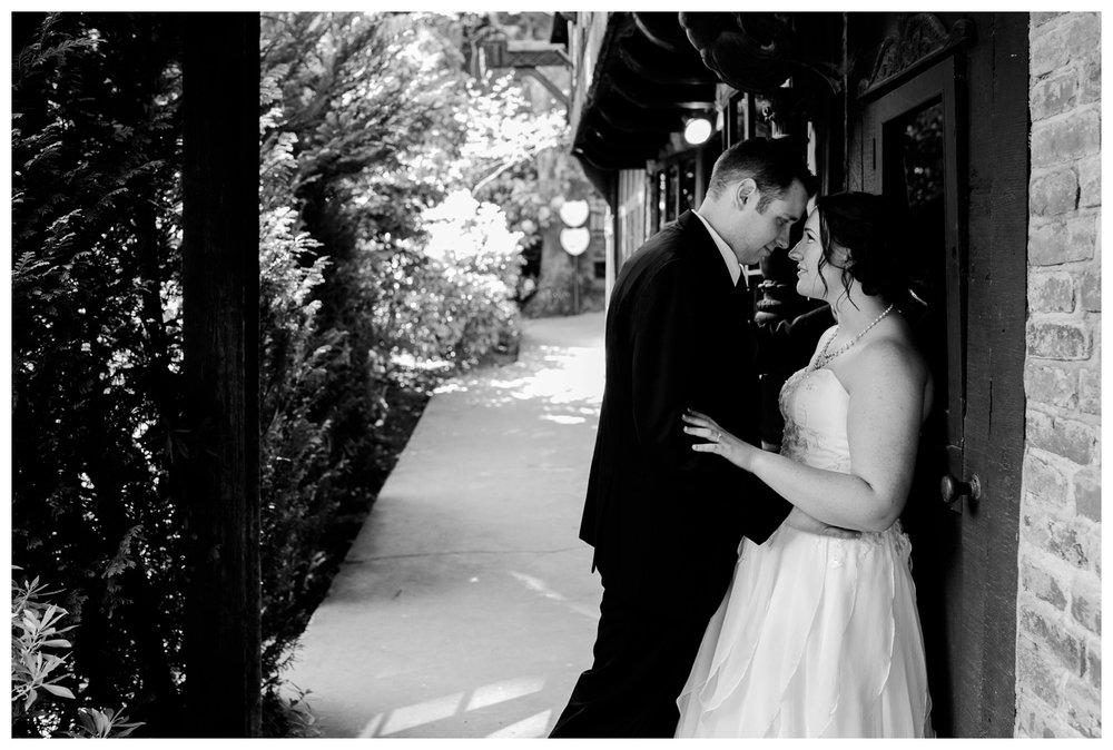 Bride and Groom at English Inn Garden
