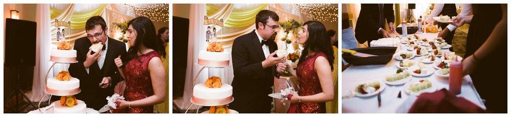 Wedding cake cutting at Calgary wedding reception