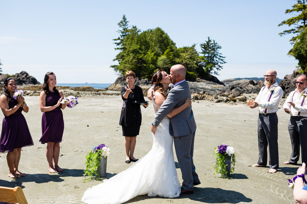 first kiss beach wedding tofino