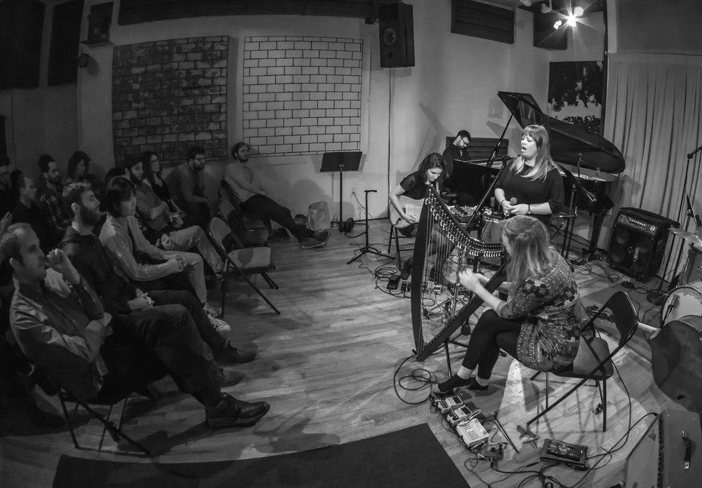 Photo by Phil Blair. Jazz Bras Dot Com (Jessica Ackerley, Laura Swankey, Elisa Thorn) with Michael Malis at Scholes Street Studio. Brooklyn, New York. February 2017.