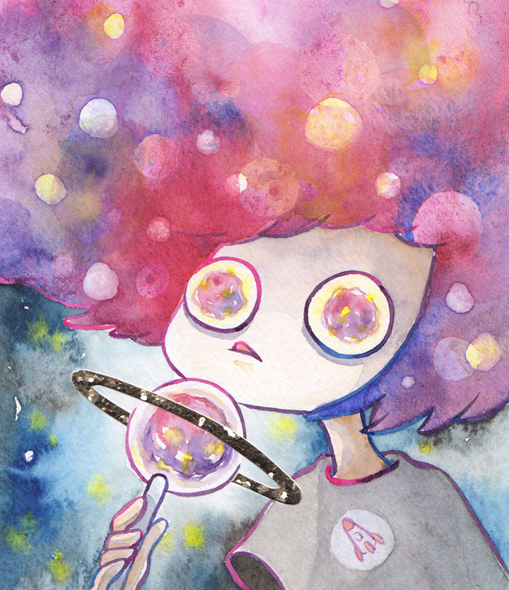 """Galaxy Lollipop (Golden Ring)  Watercolor, ink and glitter paper 5x6"""" January, 2019"""