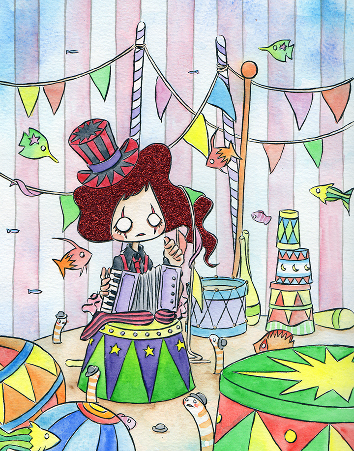 """Circus  Watercolor, ink and glitter paper 8x10"""" 2018"""