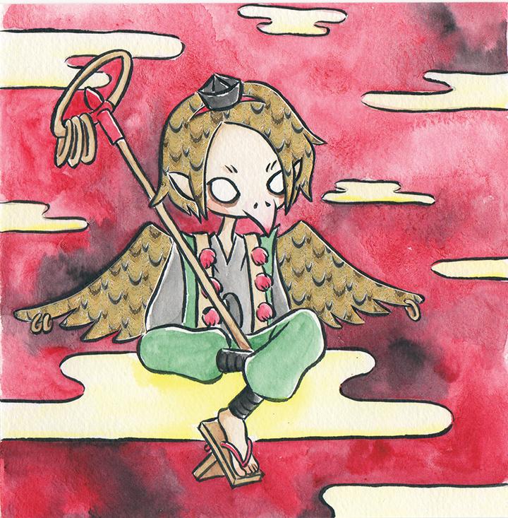 "Tengu  Watercolor, ink and foil paper 5x5"" December, 2017"