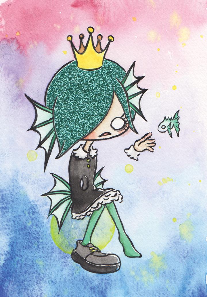 "Hangyo Girl (Mermaid)  Watercolor, ink and glitter paper 4x6"" December, 2017"