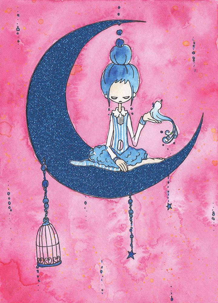 """Blue Moon  Watercolor, ink and glitter paper 5x7"""" 2014"""
