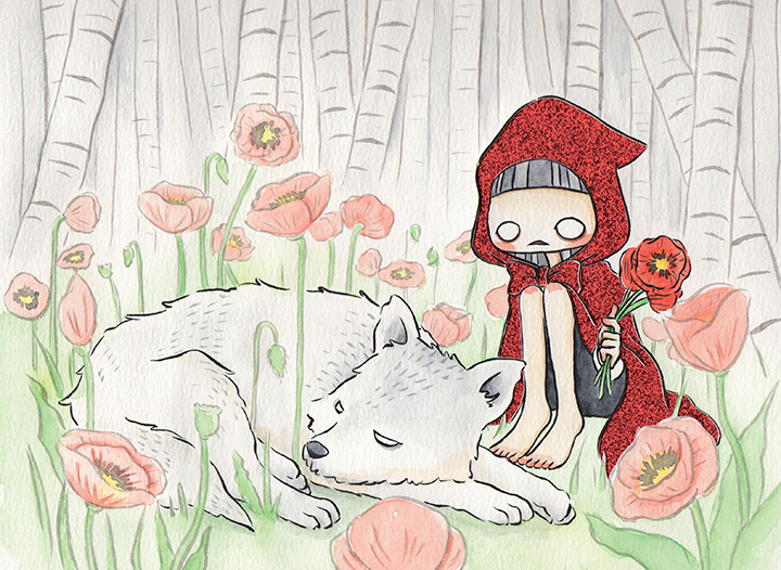"""Little Red Riding Hood  Watercolor, ink and glitter paper 8x10"""" October,2017 (made for  Fairytales & fables Calendar 2018 )"""