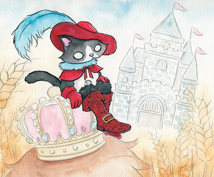"""Puss in Boots  Watercolor, ink and glitter paper 8x10"""" October,2017 (made for  Fairytales & fables Calendar 2018 )"""