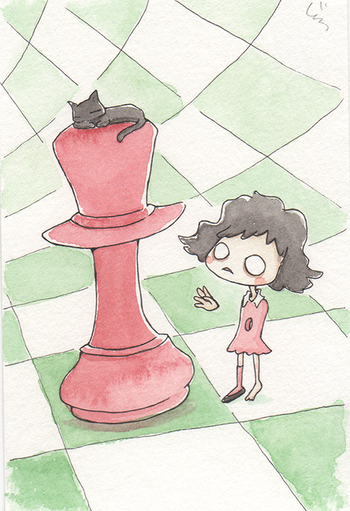 """Chess  The words given to me were """"Games,"""" """"Green,"""" and """"Burgundy.""""  July 2017"""