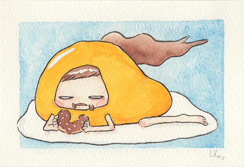 """Gude Eats her Donut  The words given to me were """"Gudetama"""" and """"Donut.""""  2017"""