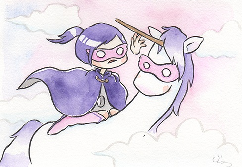 """Purple Hero  The words given to me were """"Unicorn"""" and """"Marvel/DC Movies.""""  2017"""