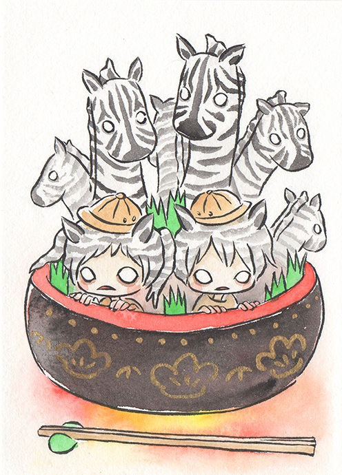"""Zebra Sushi  The words given to me were """"Sushi"""" and """"Zebra.""""  2017"""