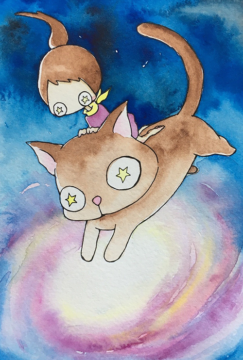 """Galaxy Kitty  The words given to me were """"Universe"""" and """"Cat.""""  July 2017"""