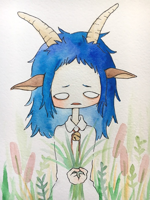 """Blue Goat Girl  The words given to me were """"Blue"""" and """"Goat.""""  June 2017"""