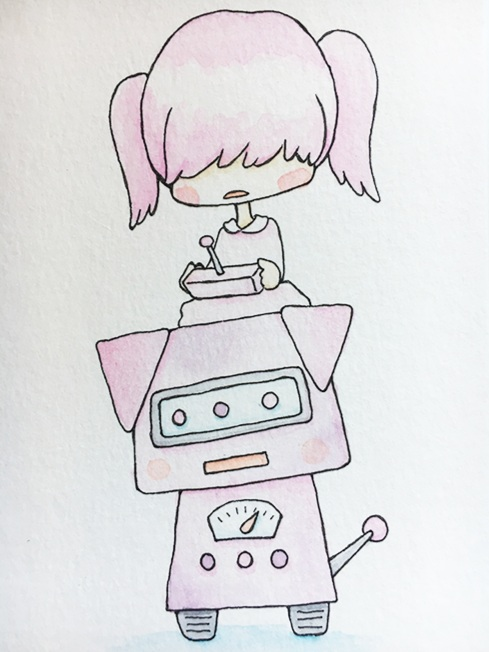 """Pink Piggie (Doggo) Bot  The words given to me were """"Technology,"""" """"Pink,"""" and """"Dog.""""  July 2017"""