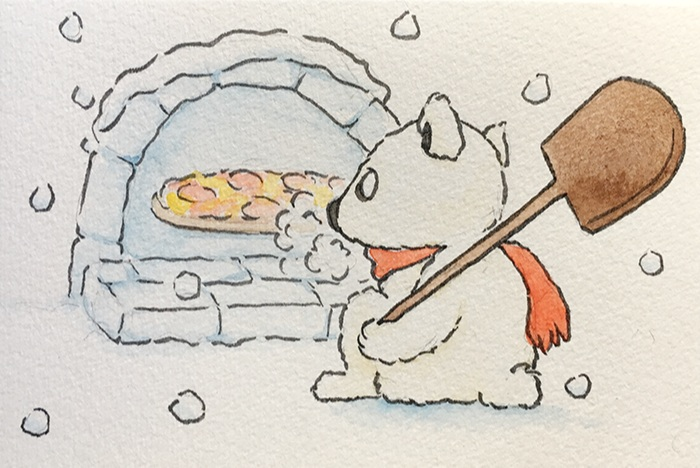 """Polar Pizza  The words given to me were """"Pizza"""" and """"Polar Bear.""""  July 2017"""