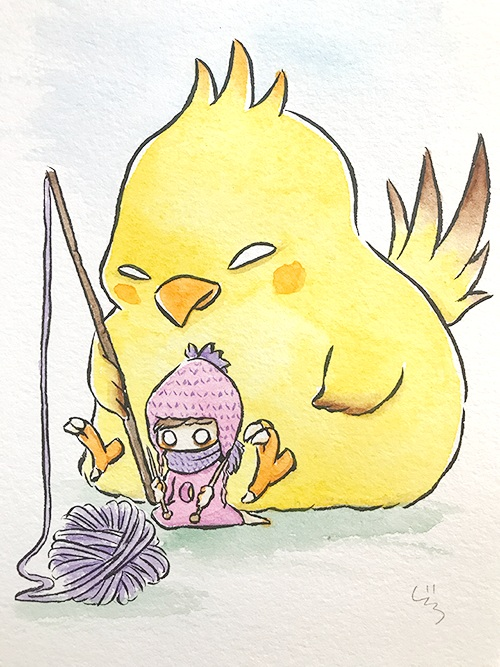 """Knitting with Fat Chocobo  The words given to me were """"Fat Chocobo"""" and """"Knitting.""""  November 2017"""