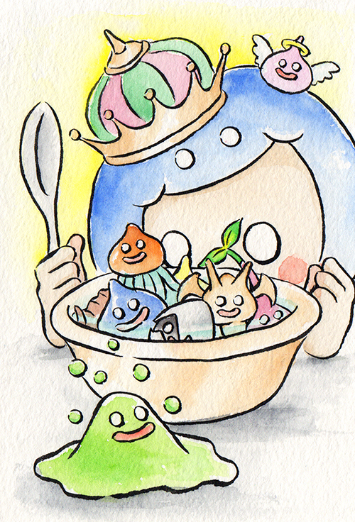 """A Bowl of Slimes  The words given to me were """"Slime"""" and """"Breakfast.""""  March 2018"""