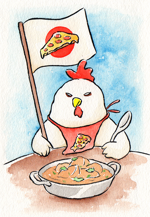 """Chicken on Strike  The words given to me were """"Chicken Korma"""" and """"Pizza.""""  April 2018"""