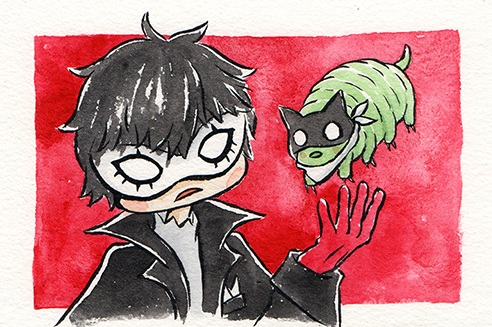 """Joker and his Friend  The words given to me were """"Joker (Persona5)"""" and """"Water Bear.""""  March 2018"""
