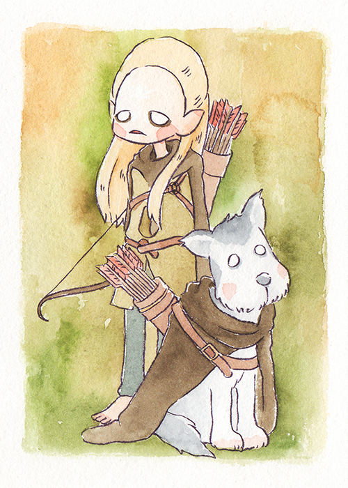 """Legolas and his Dog  The words given to me were """"Legolas"""" and """"Dog.""""  May 2018"""