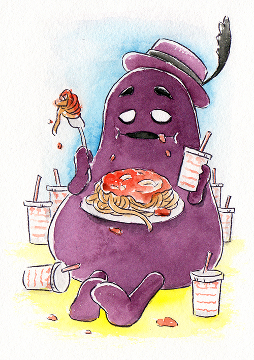 """Grimace and his Junk Food  The words given to me were """"Grimace"""" and """"Pasta.""""  April 2018"""
