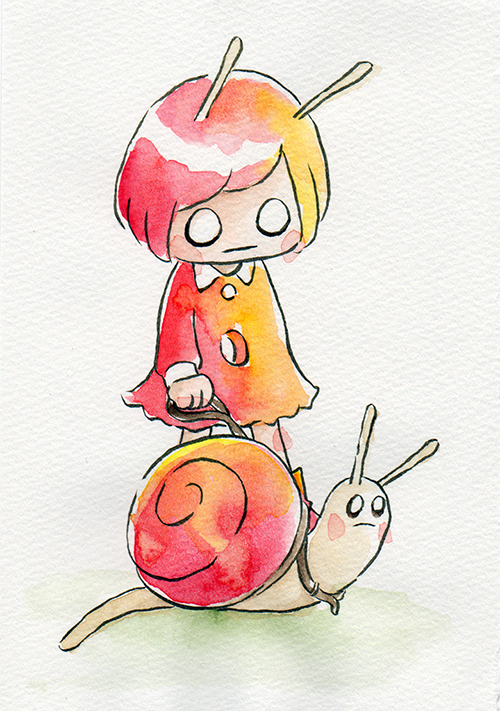 """Walking her Snail  The words given to me were """"Snail"""" and """"Red.""""  August 2018"""
