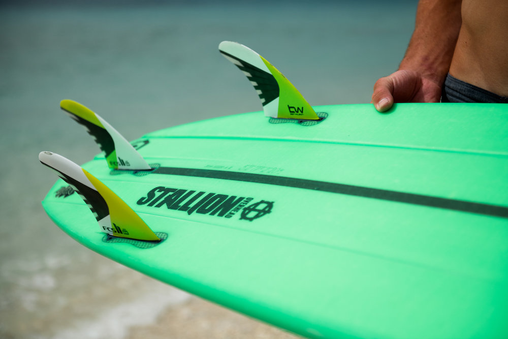 Fins - The Stallion Overhead comes with a thruster (three fin) setup in your choice of FCSII or Futures.