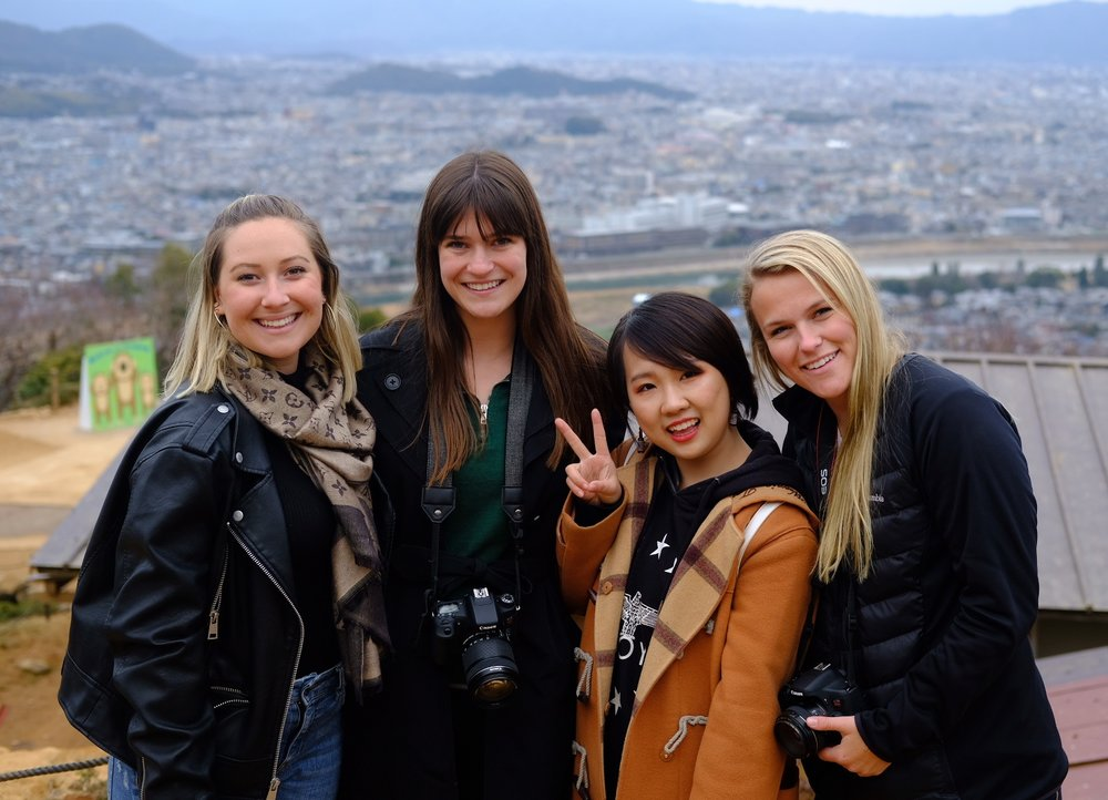 Some of my favorite people! (From left to right) Sophia, me, Yumei, and Willy at the top of the monkey park overlooking Kyoto.