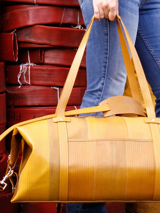 ELVIS & KRESSE, UK - Since 2005 Elvis & Kresse have been rescuing raw materials from landfill, transforming them into luxury lifestyle accessories through world-class craftsmanship and donating 50% of their profits back to charities. For over a decade none of London's fire-hose has gone to landfill and over 170 tons of material has been reclaimed thanks to Elvis & Kresse.