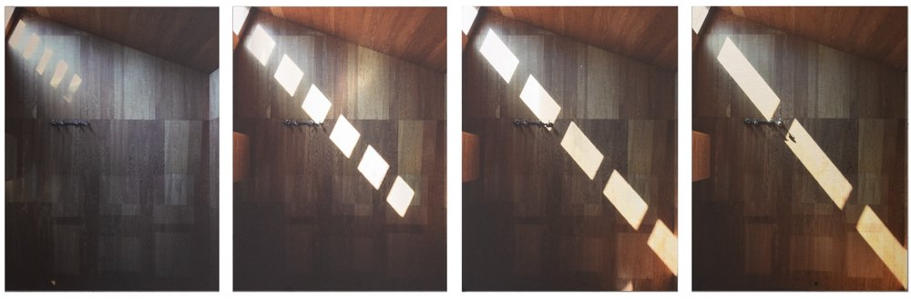 A Life, a Career, a Day, quadriptych, photographic print on brushed aluminium, 4 x 40cm x 55cm
