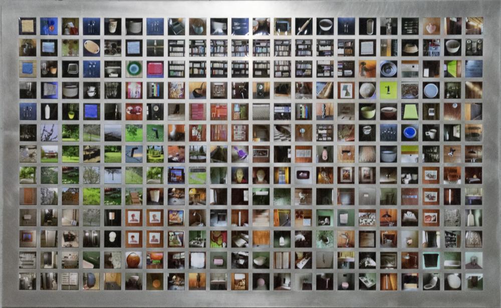 Power of seduction, 286 smartphone photographs in an aluminium frame, 144cm x 234cm