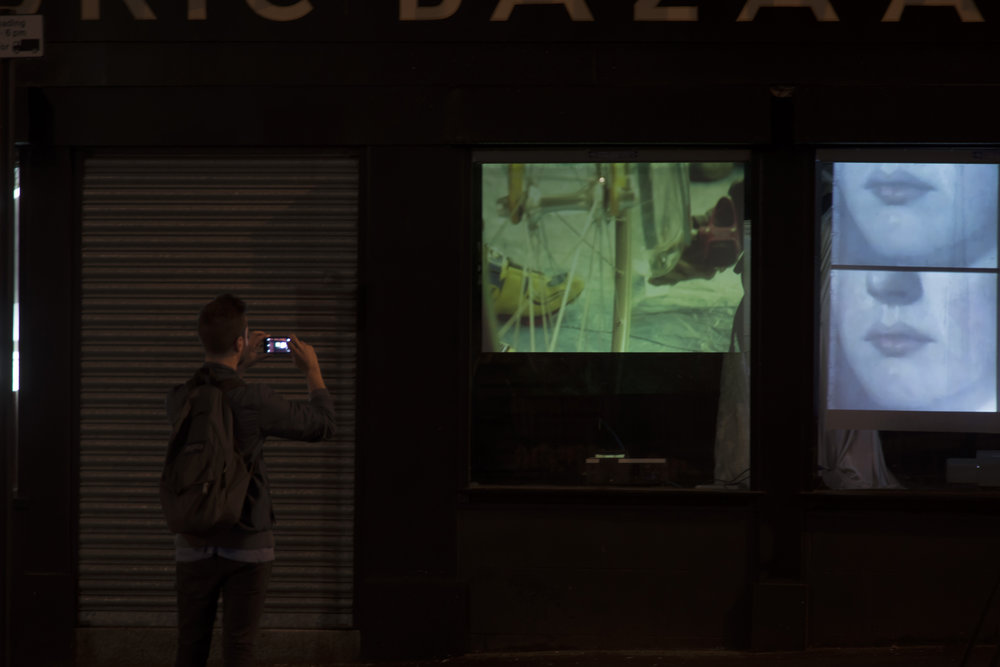 Artists films projected in to the windows - 2014