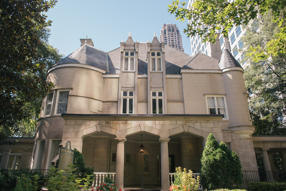 The Wimbish House, a chateau-style mansion made of white sandstone and located in Midtown Atlanta.