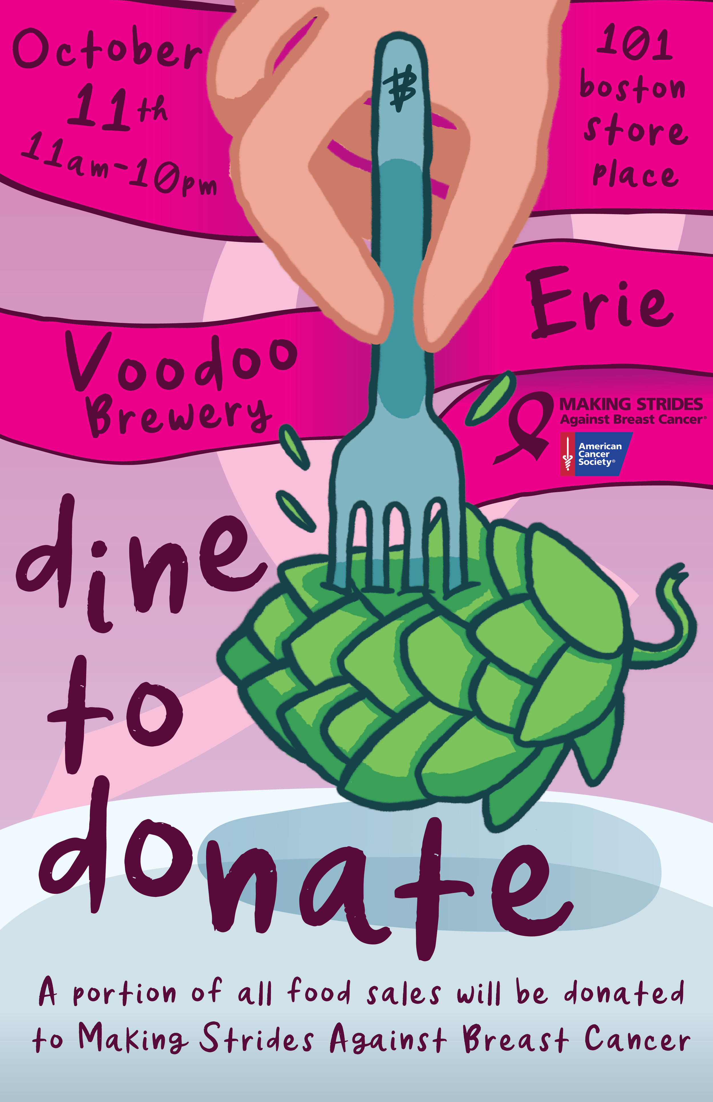 Dine to Donate Benefitting Making Strides Against Breast Cancer flyer