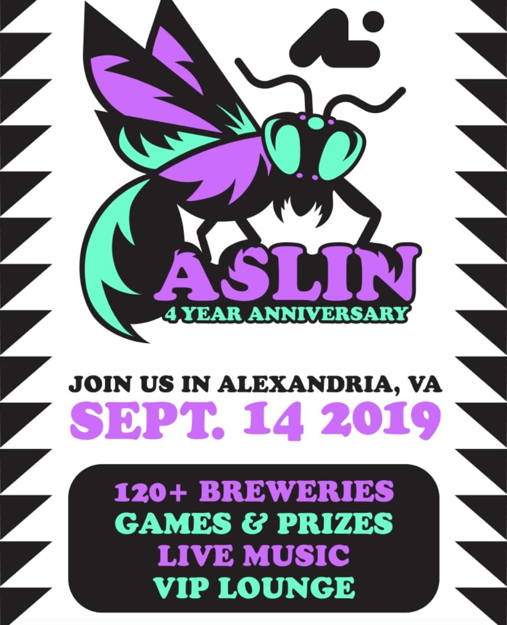 Aslin 4 Year Anniversary flyer