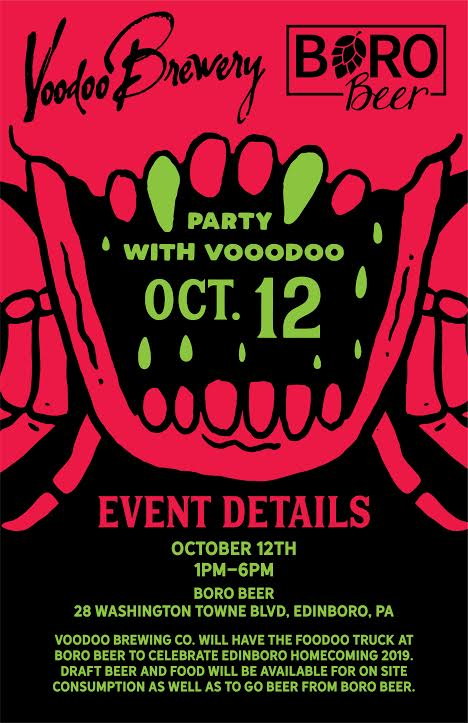 Voodoo Homecoming Party at Boro Beer flyer