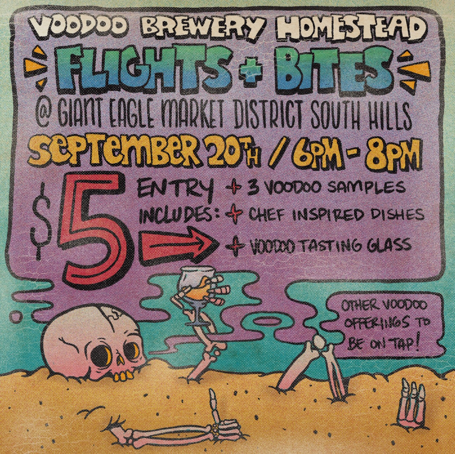 Flights and Bites with Voodoo Brewery at Giant Eagle South Hills! flyer