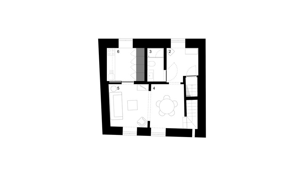 1st FLOOR PLAN _ 2 hall . 3 bathroom . 4 dining room . 5 living room . 6 kitchen