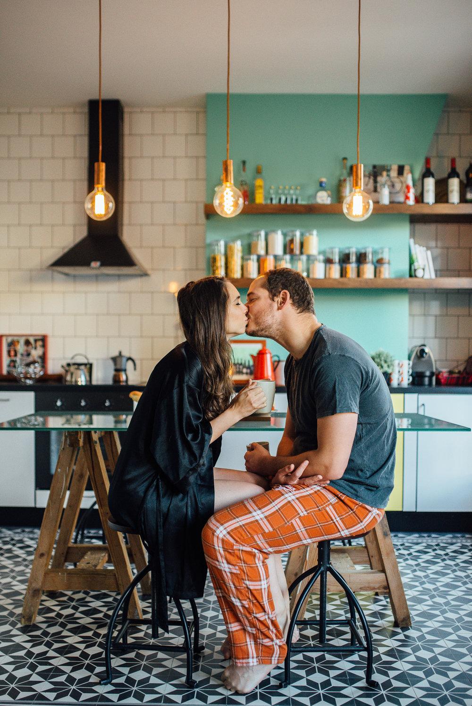 Cozy pajama breakfast engagement shoot in a hip apartment in Paris, France - Sara Monika, Photographer