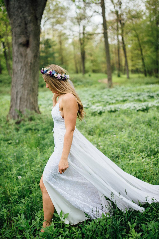 Fernwood Hills London Ontario Bohemian Wedding - free-spirited boho bride with flower crown - Grace Loves Lace wedding dress