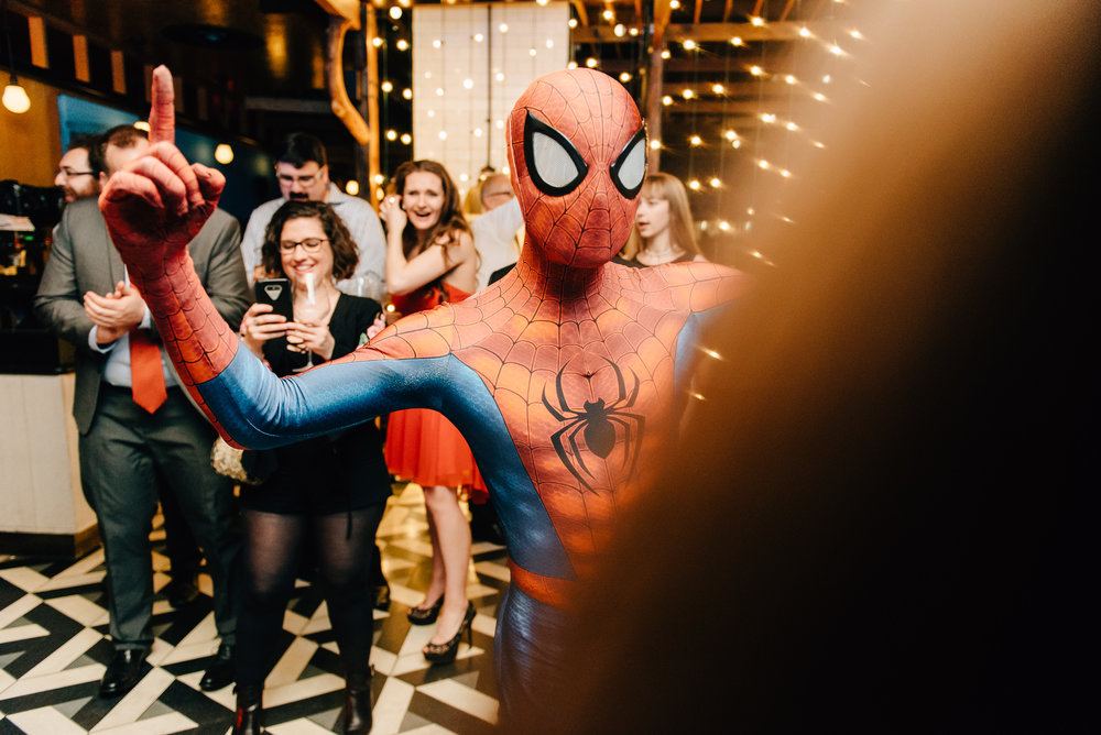 Spiderman at a wedding reception at The Drake 150 in Toronto - Sara Monika, Photographer