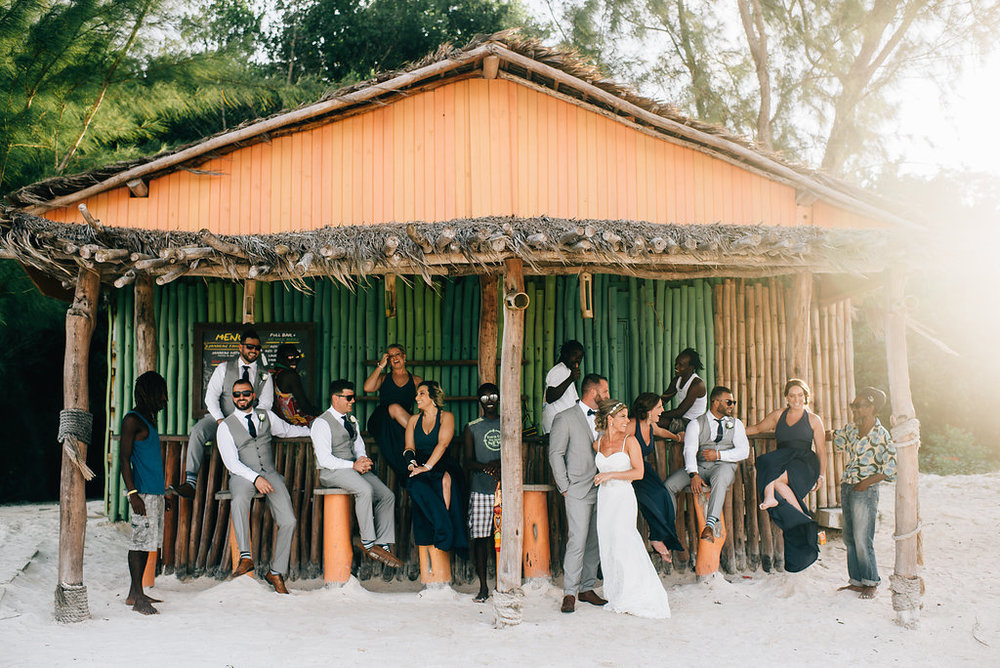 bride and groom and bridal party at Royalton White Sands in Montego Bay, Jamaica