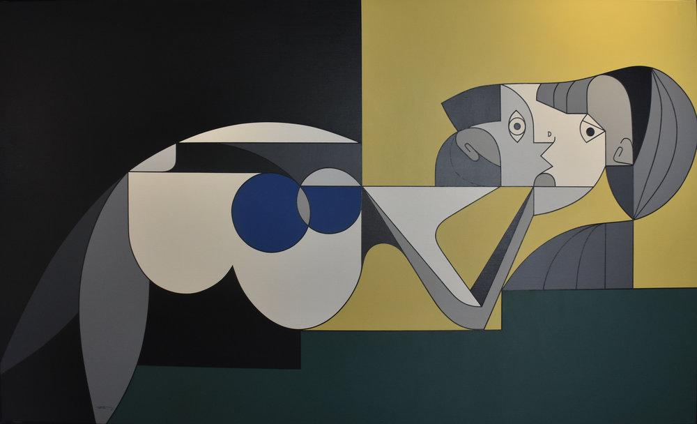 Pose Sur l'Escalier - Oil on canvas162 x 97 cm