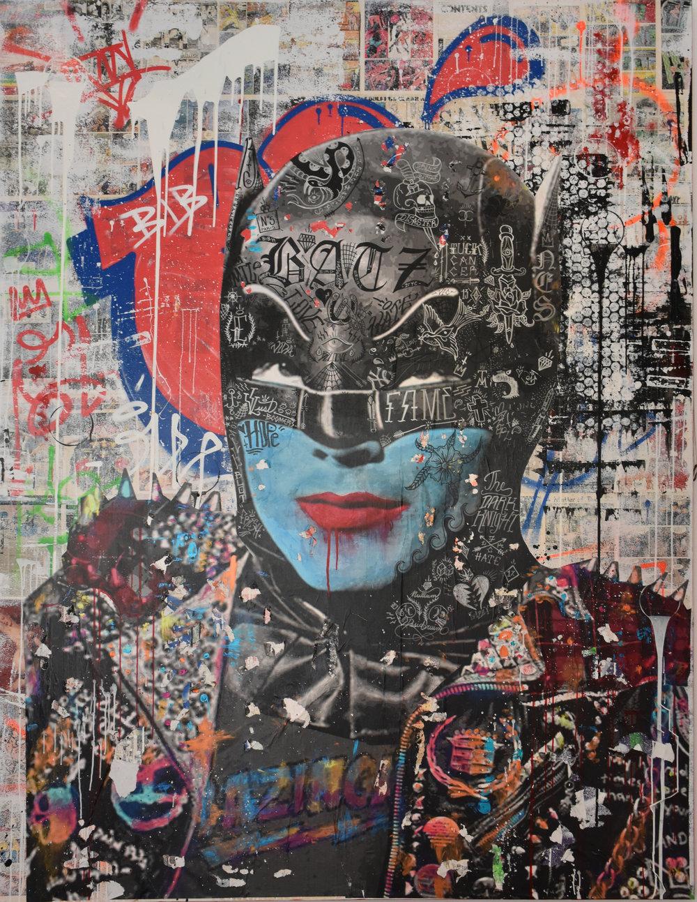 Bazinga Batz - Mixed media on canvas244 x 188 cm