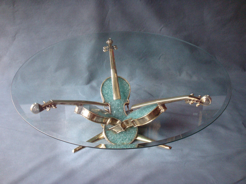 Table Basse Aux 3 Violons - 2012Brass and glassH: 40 cm