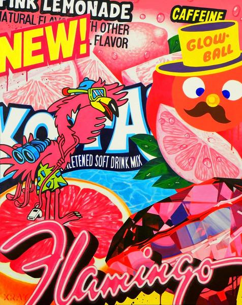 New Flamingo - Acrylic on wood92 x 114 cm